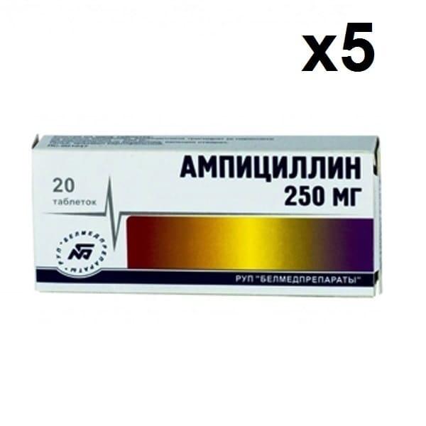 Ampicillin 250 mg 100 (20x5) tablets