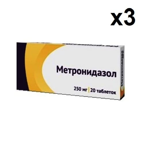 Metronidazole 250 mg 60 tablets (3 boxes x 20 Tablets)