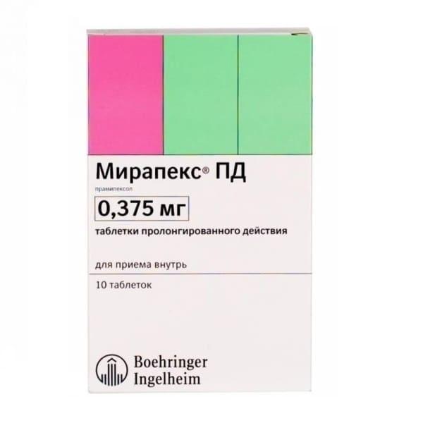 Mirapex 0.375 mg 10 tablets